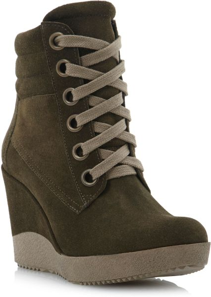 dune plaster high top lace up wedge boots in green khaki