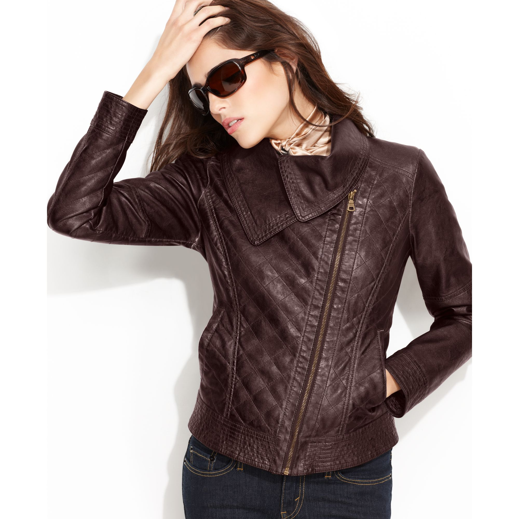 Lyst Guess Jacket Asymmetrical Quilted Faux Leather