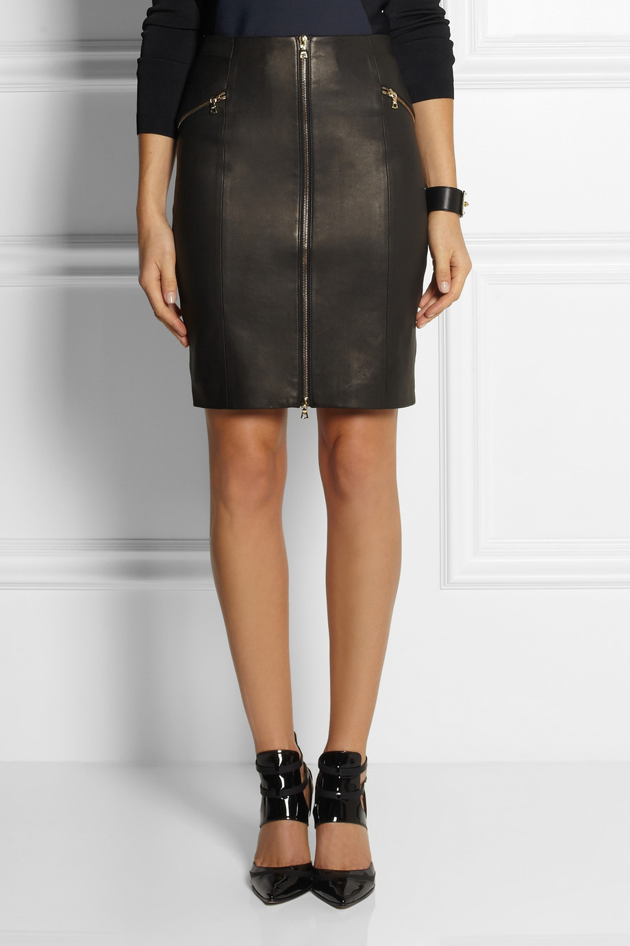 J brand Maxine Zip-front Leather Skirt in Black | Lyst