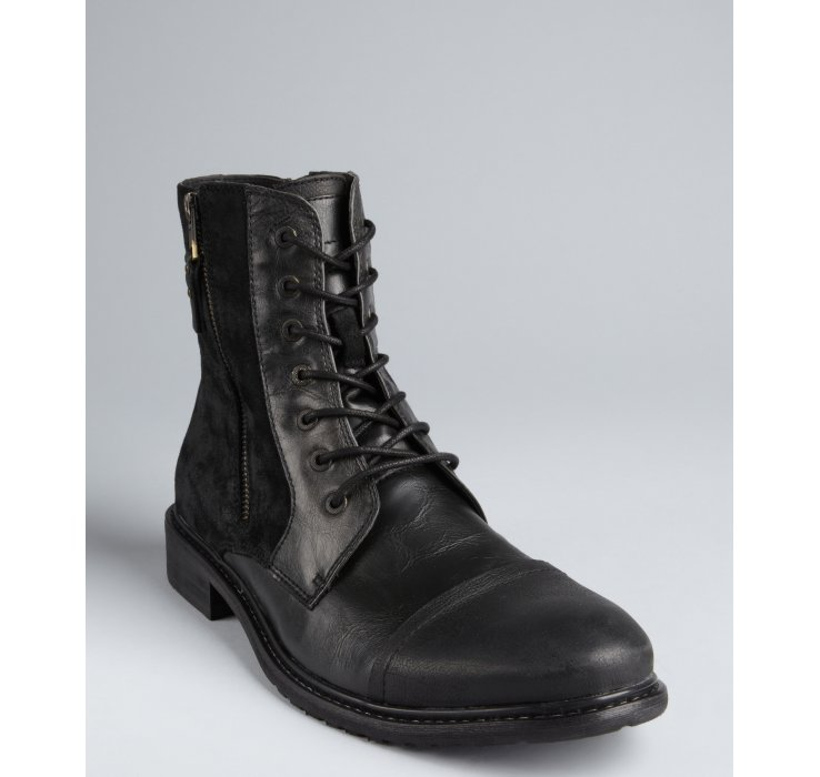 24e284cdab2 Kenneth Cole Reaction Leather and Faux Suede Hit Men Zip Side Boots ...