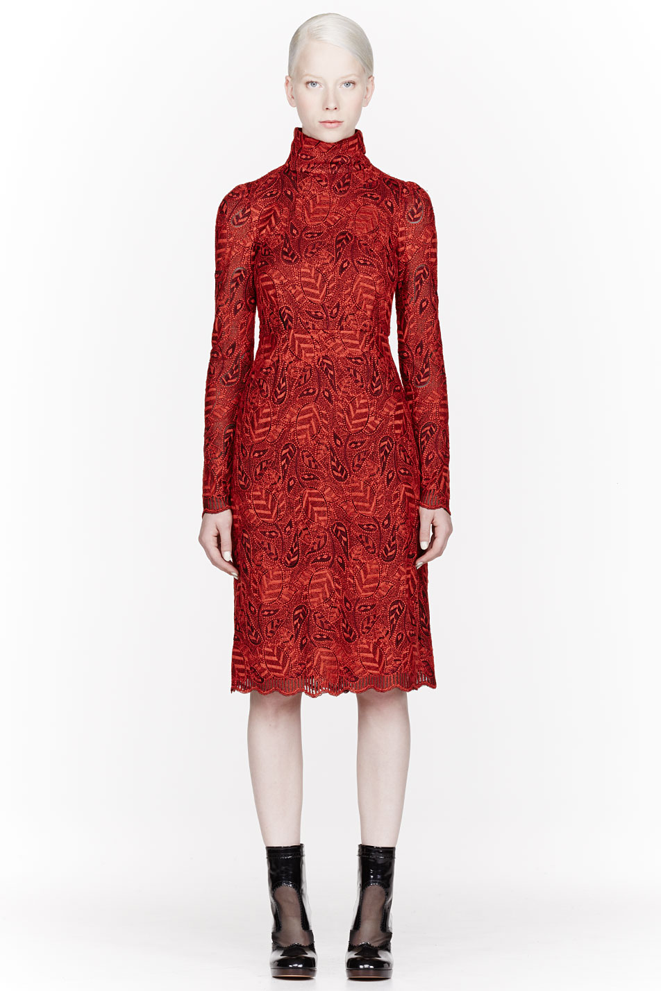 Lyst marc by jacobs red embroidered lancaster lace