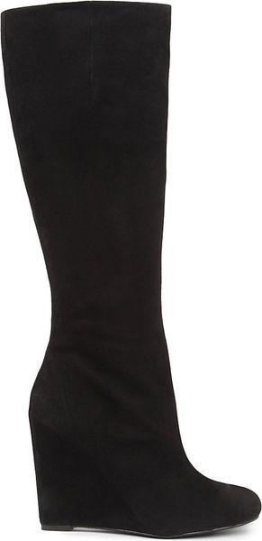 nine west ravvyn suede knee high wedge boots in black lyst