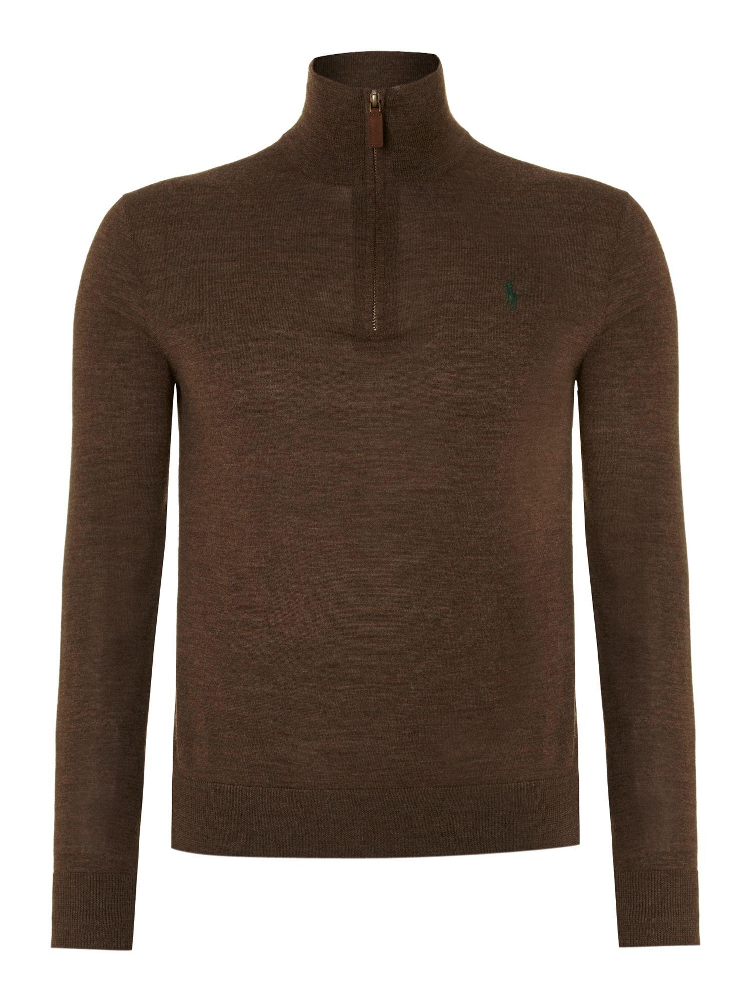 polo ralph lauren classic merino wool half zip jumper in brown for men. Black Bedroom Furniture Sets. Home Design Ideas