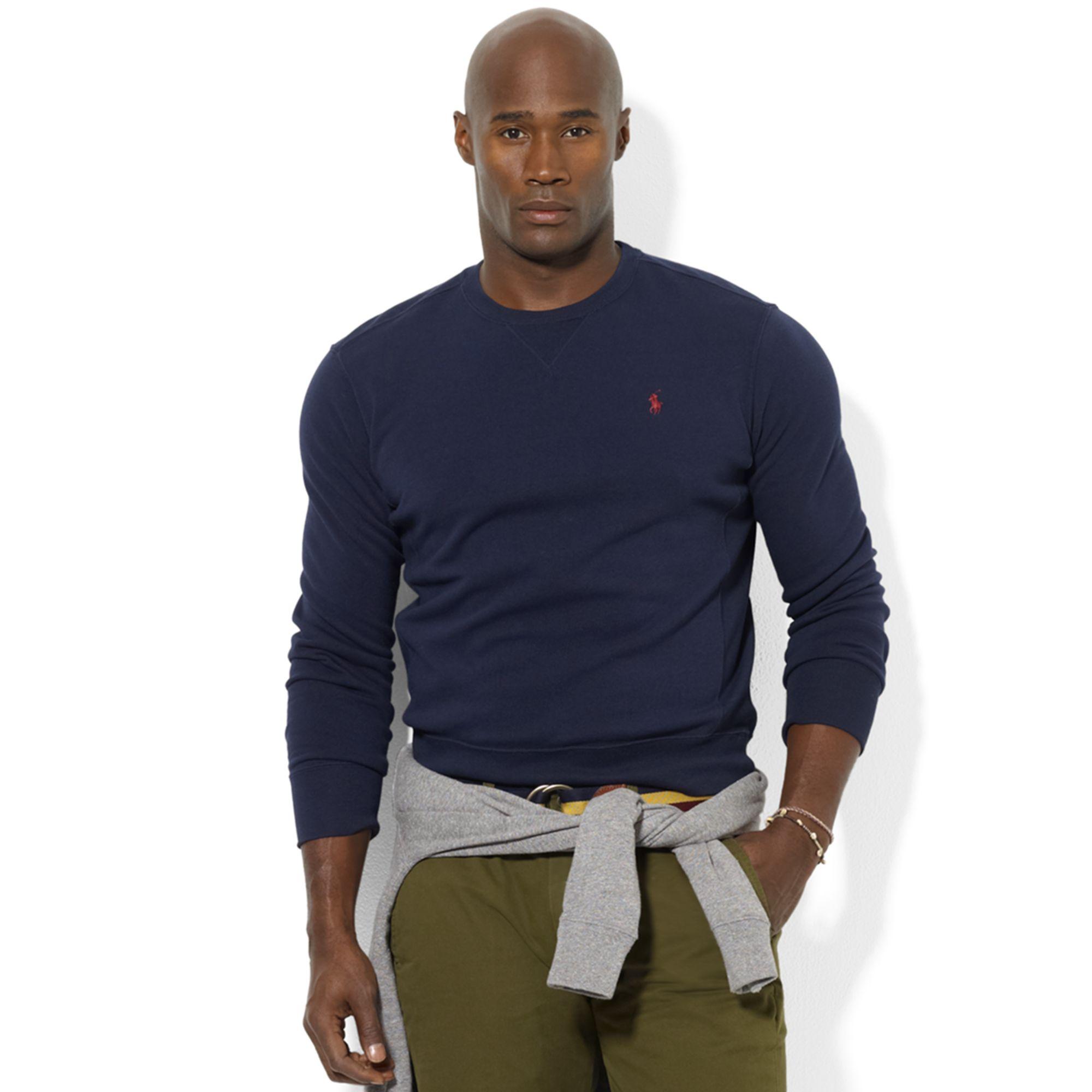 ralph lauren crew neck fleece pullover in blue for men. Black Bedroom Furniture Sets. Home Design Ideas