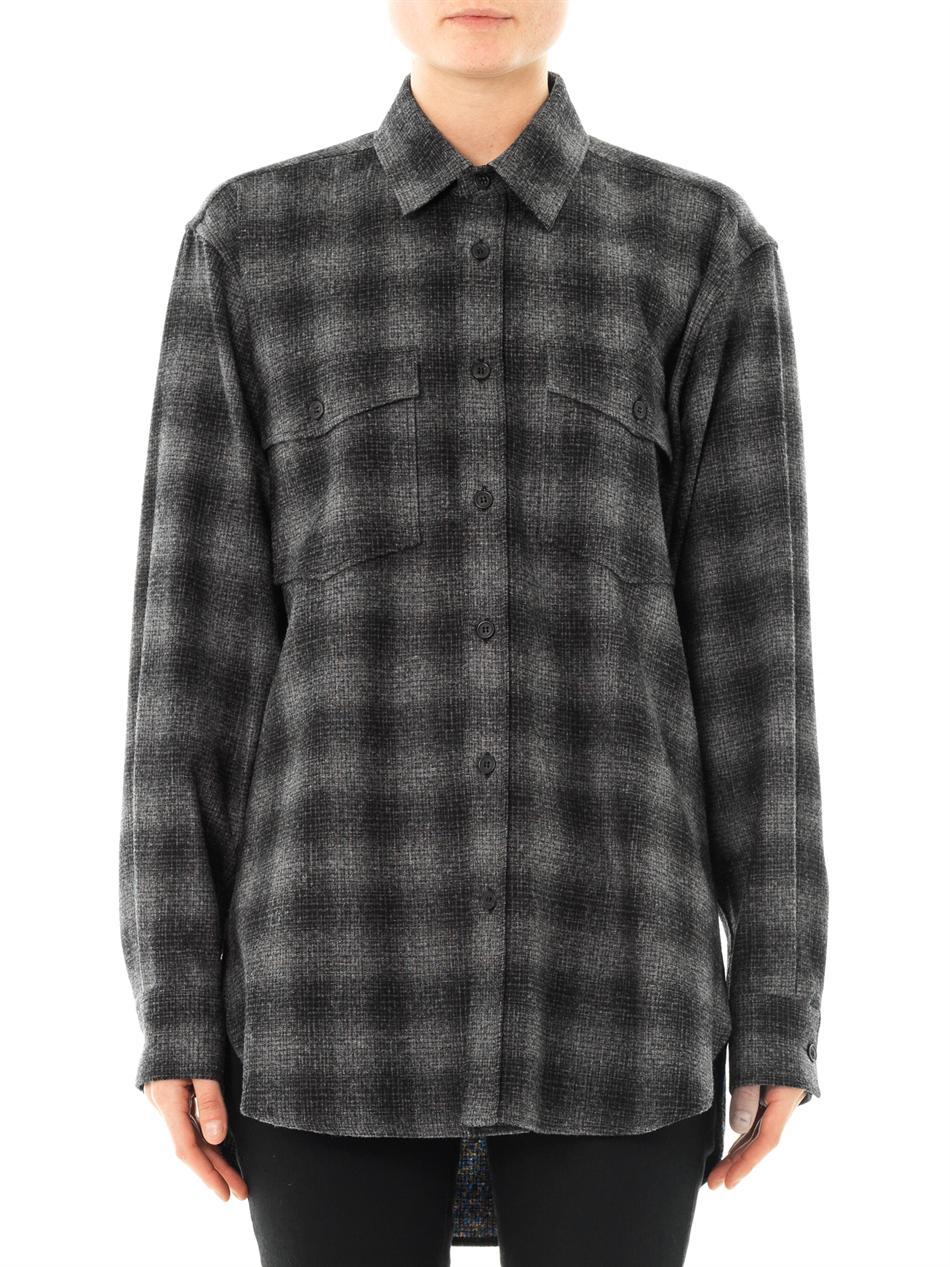 Saint laurent plaid flannel shirt in gray charcoal lyst for Grey plaid shirt womens