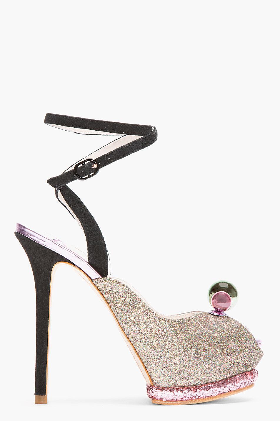 Sophia Webster Mauve Glitter Bardot Ankle Strap Heels Lyst
