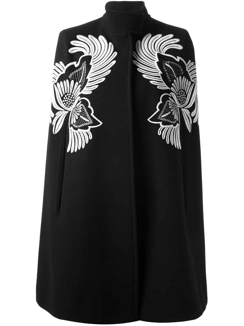 Stella Mccartney Floral Embroidered Cape In Black Lyst