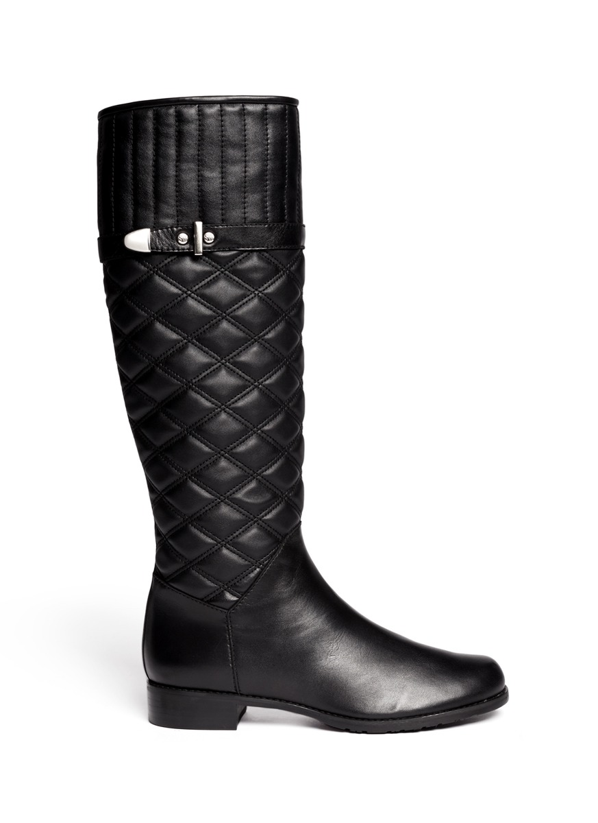 stuart weitzman copilot quilted leather boots in black lyst