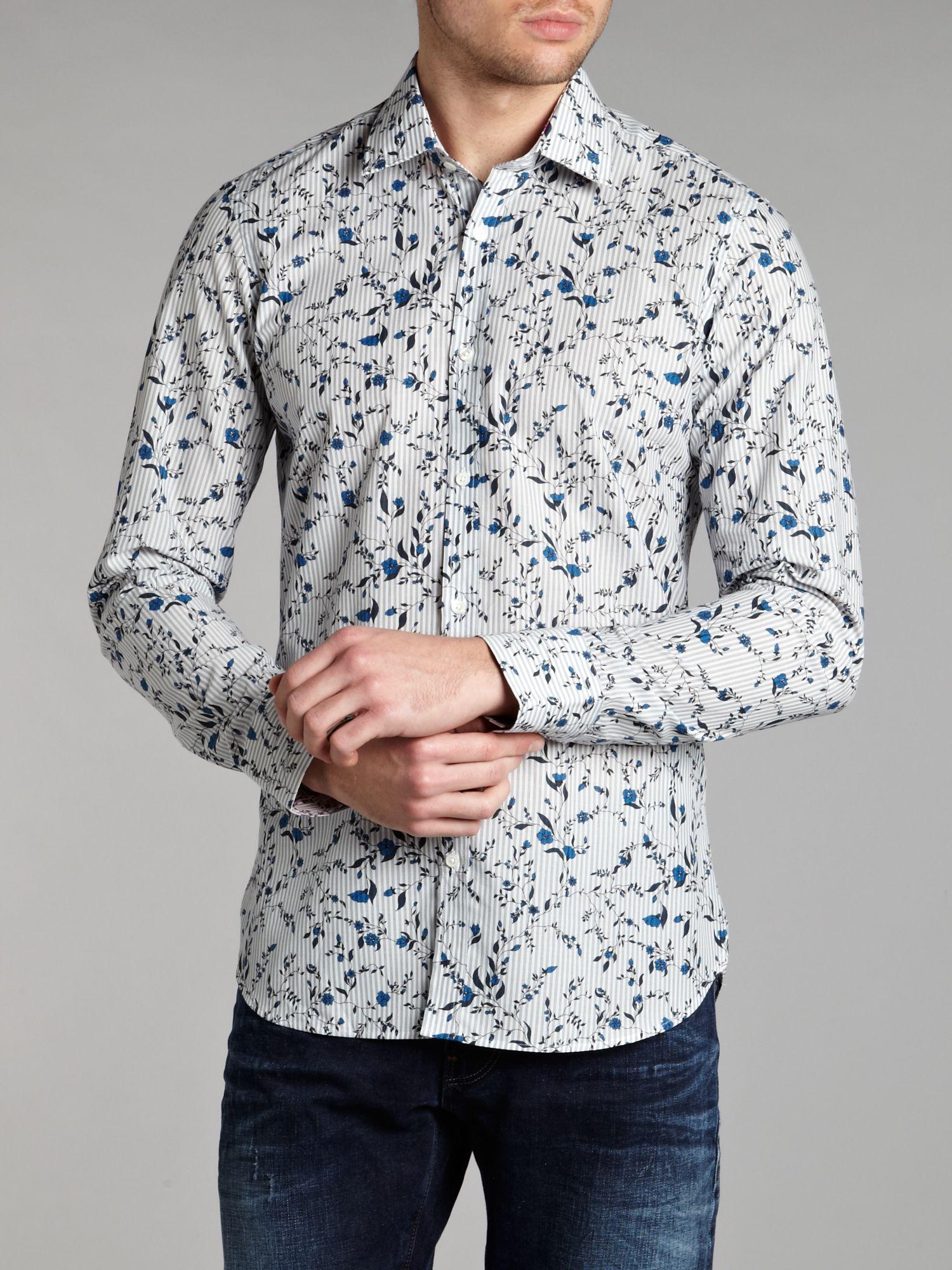 Ted baker long sleeved floral print formal shirt in blue for Ted baker floral print shirt
