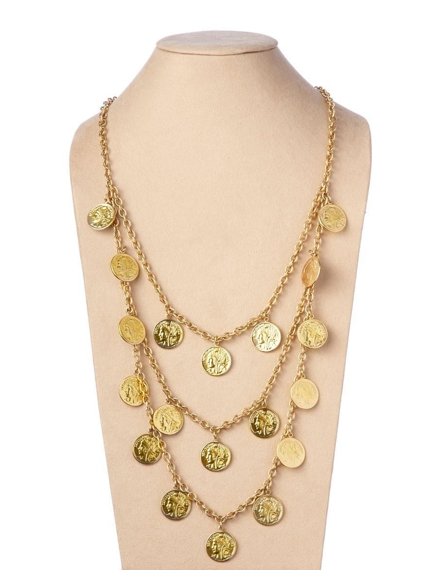 theodora  u0026 callum gold dominique triple strand coin
