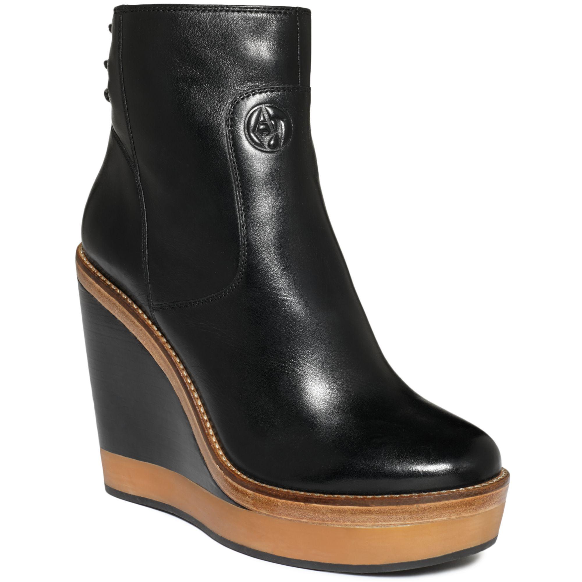 Armani jeans Platform Wedge Booties in Black | Lyst