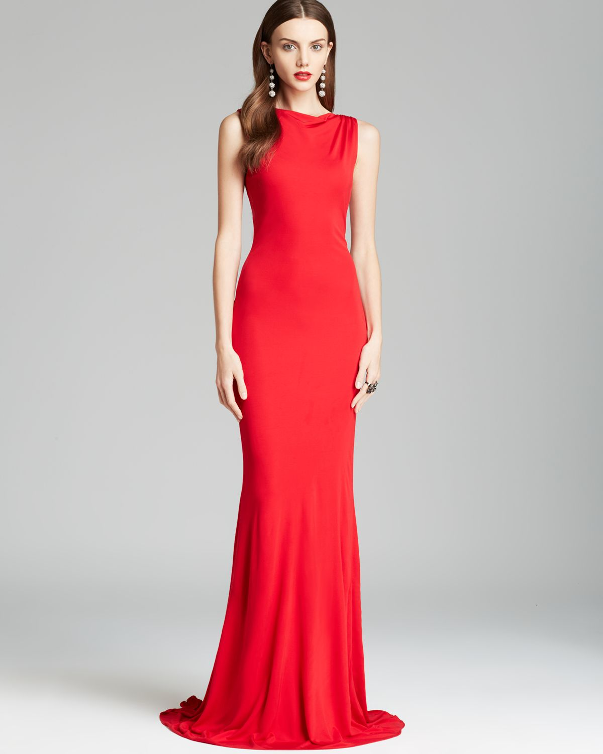 Badgley mischka Gown Bow Back in Red  Lyst