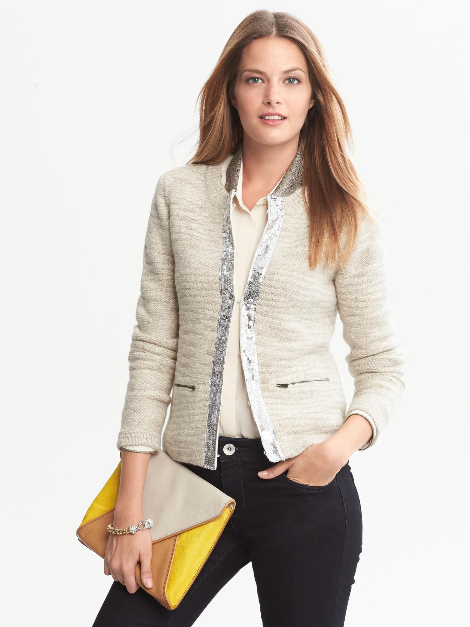 Banana Republic Sequin Trim Wool Sweater Jacket In Natural