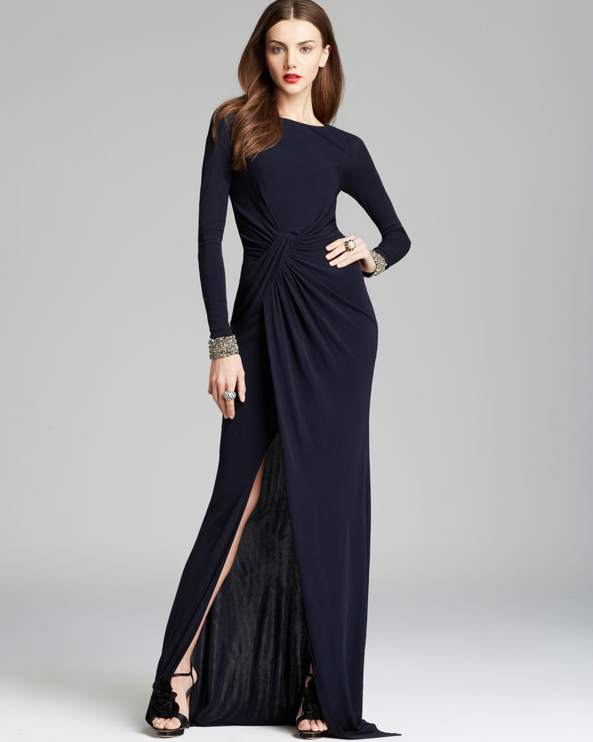 Lyst - David Meister Jeweled Cuff Draped Jersey Gown Cutout Back in Blue