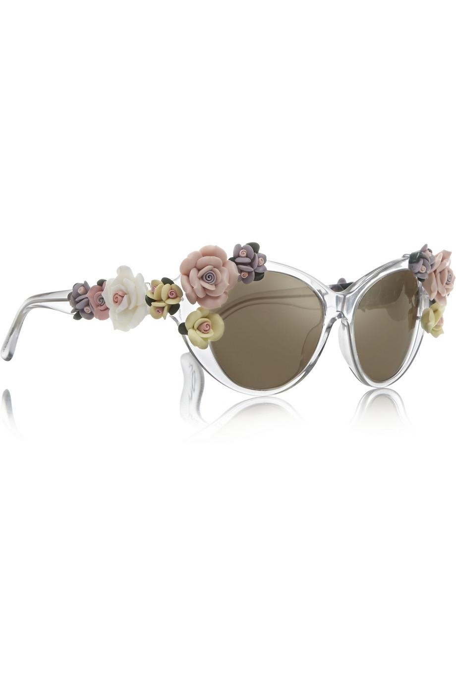 06f0df5e95e3 Lyst - Dolce   Gabbana Cat Eye Embellished Mirrored Acetate Sunglasses