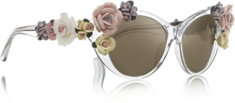 Dolce & Gabbana Cat Eye Embellished Mirrored Acetate Sunglasses in Transparent (Neutrals)