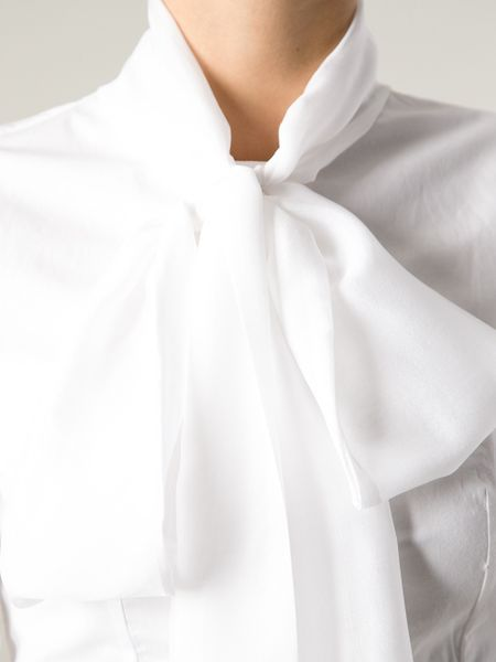 Dondup Pussy Bow Blouse In White Lyst