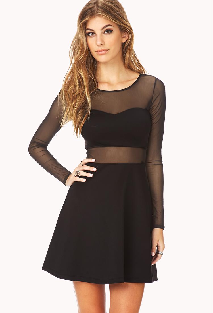 Lyst - Forever 21 Bold Mesh Skater Dress in Black - photo #30