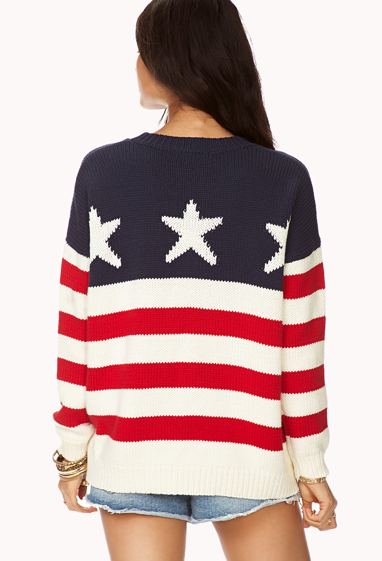lyst forever 21 american flag sweater in blue