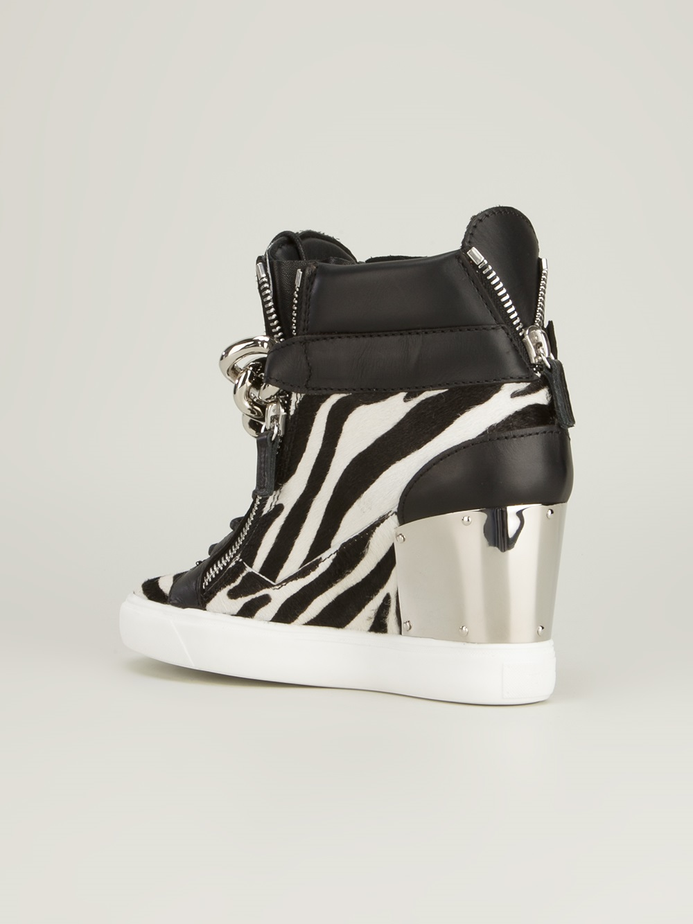 fdafed92fdc41 Giuseppe Zanotti Zebra Print Wedge Trainer in White - Lyst