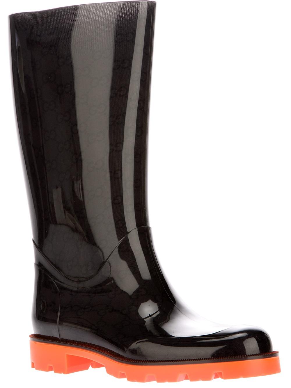 Lyst Gucci Edimburg Rain Boot In Black