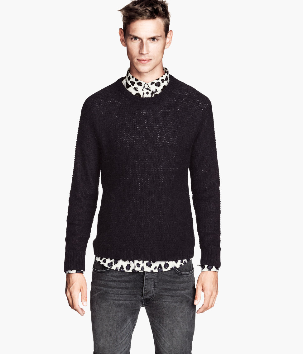 329f8407acaa2b H&M Knitted Jumper in Black for Men - Lyst