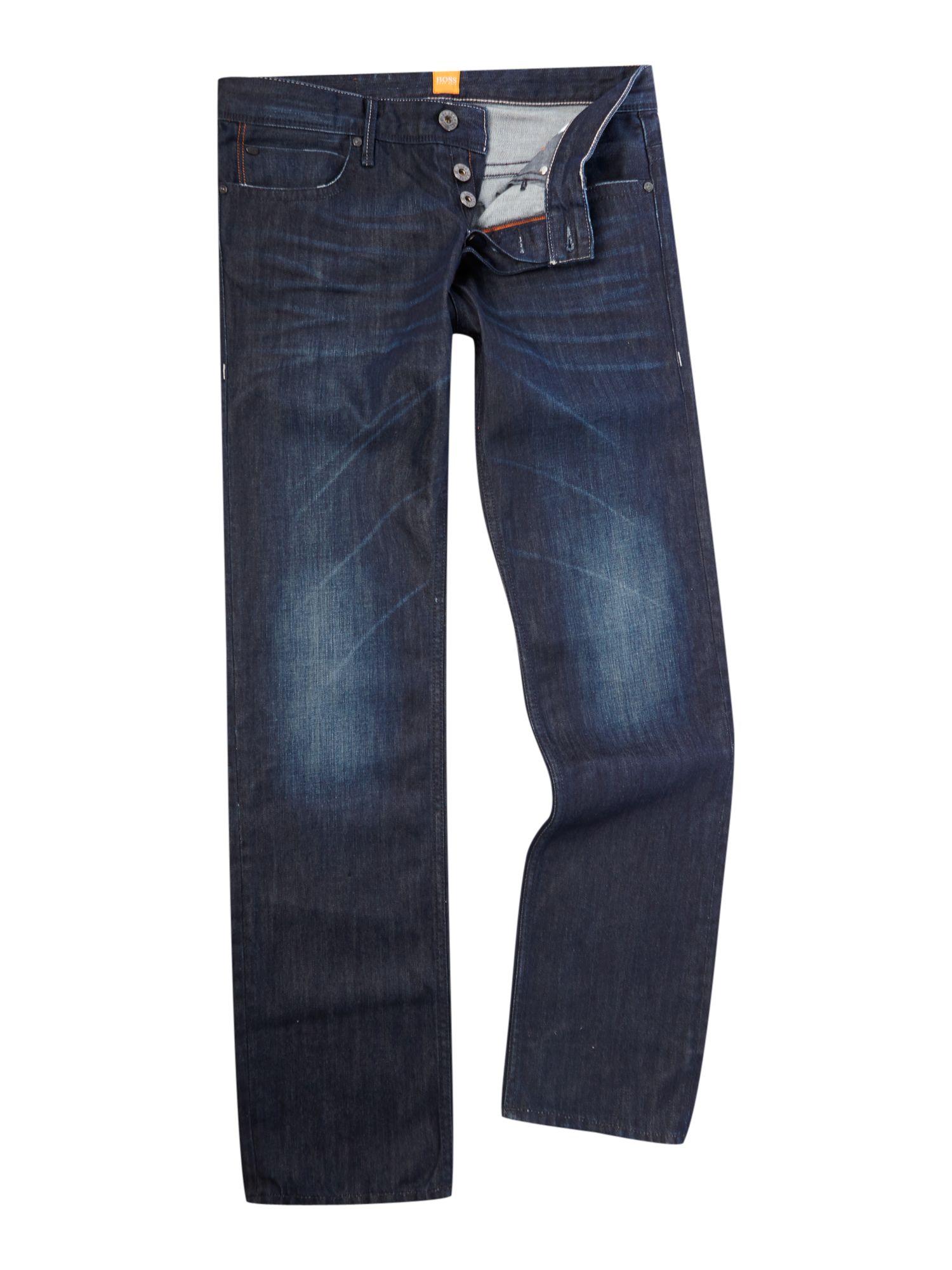 hugo boss orange 24 milano dark wash jeans in blue for men. Black Bedroom Furniture Sets. Home Design Ideas