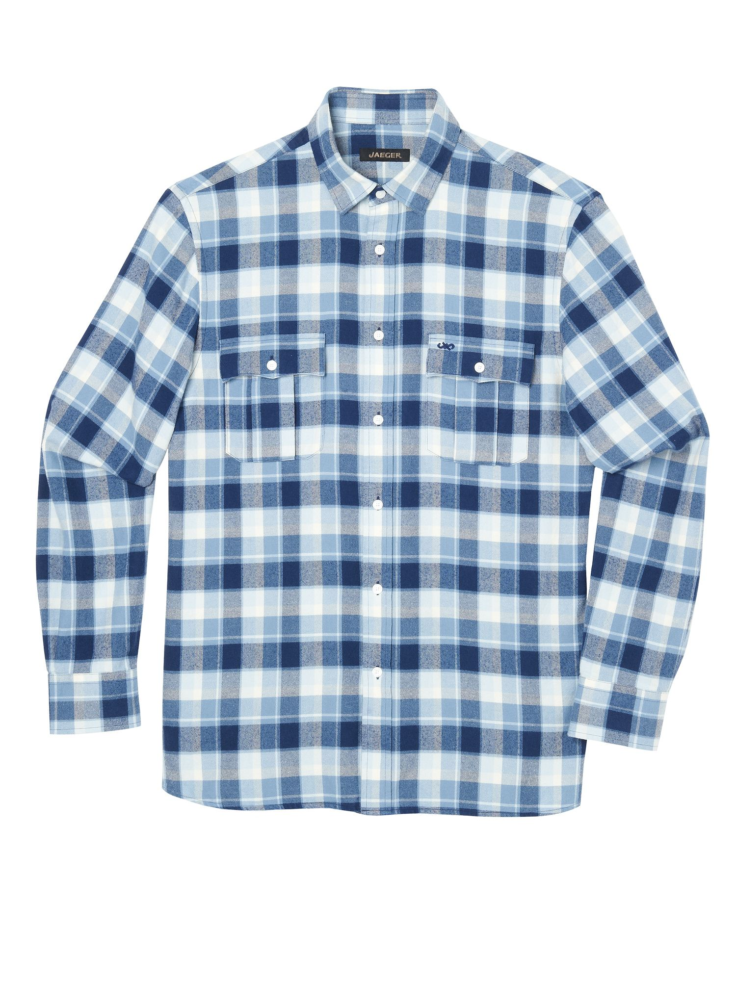 jaeger flannel plaid shirt in blue for men lyst