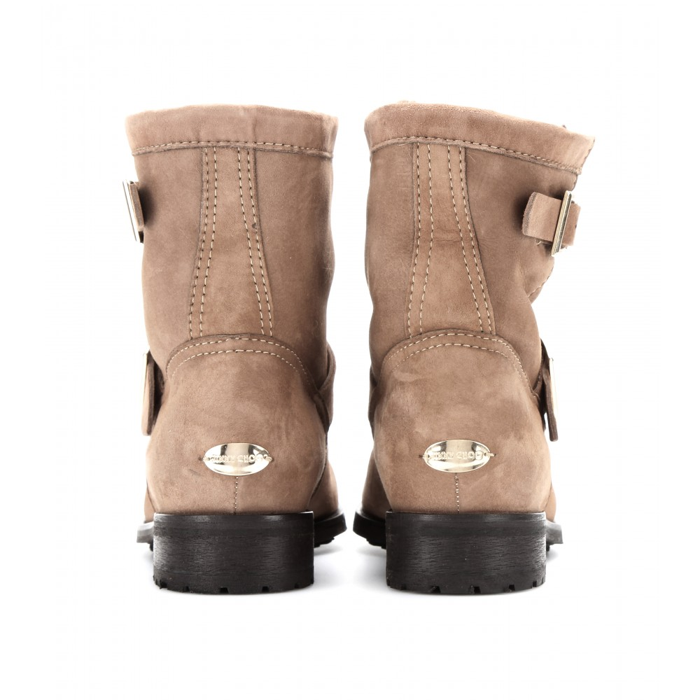 b960459ed0f1 Lyst Jimmy Choo Youth Suede Biker Boots With Shearling In Brown