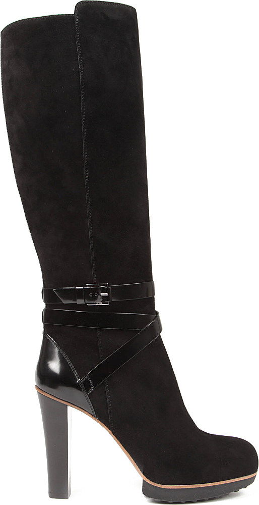 Tod's Platform Leather Knee high Boots in Black