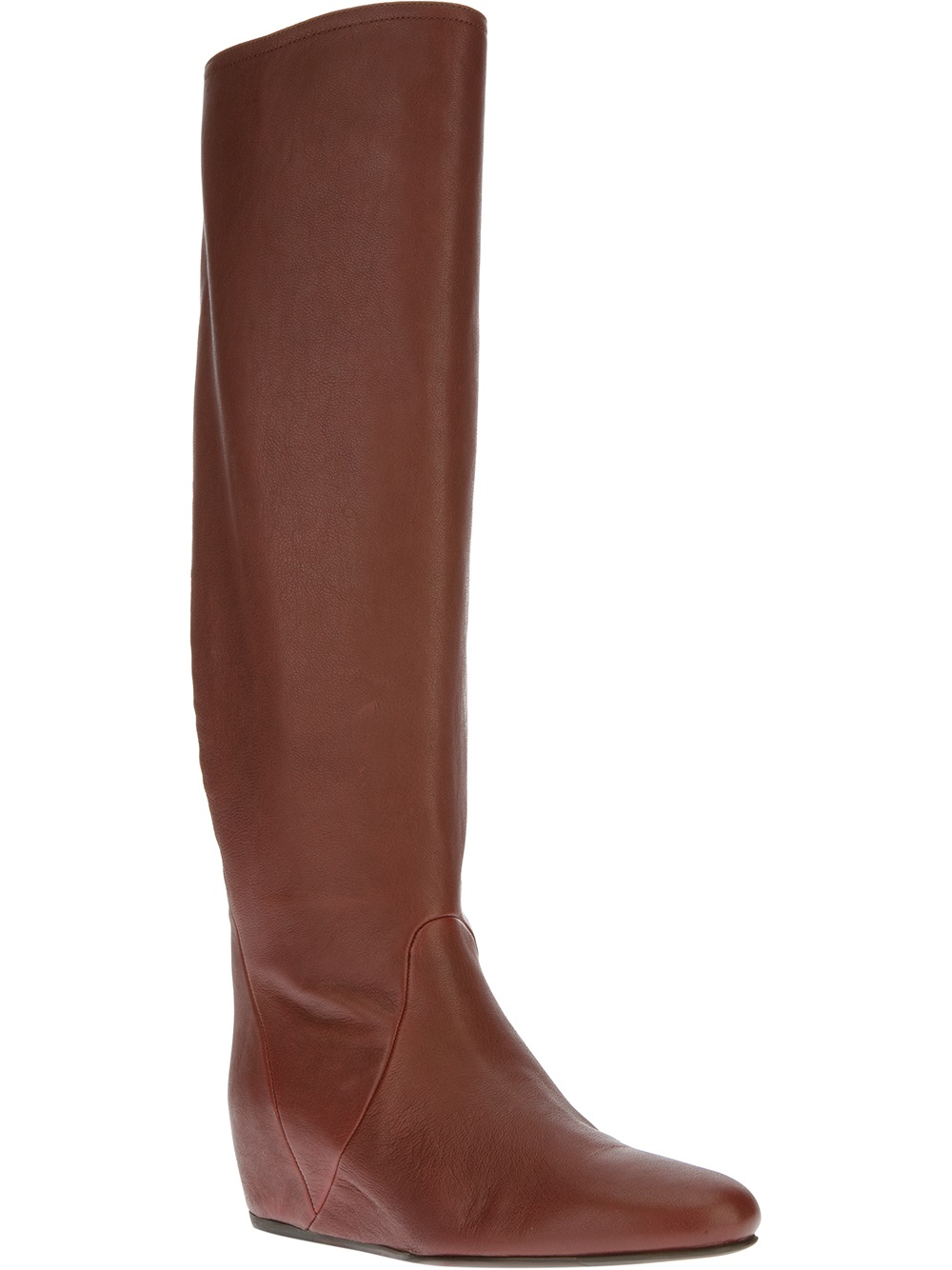 lanvin concealed wedge knee high boot in brown lyst