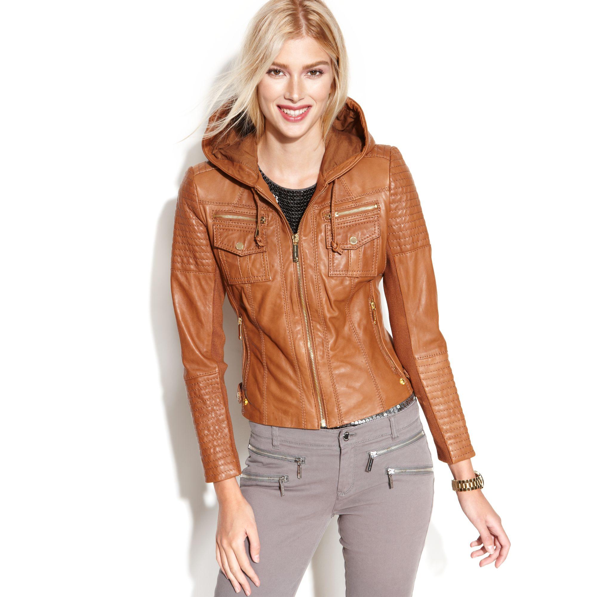 women's michael kors leather jacket with hood