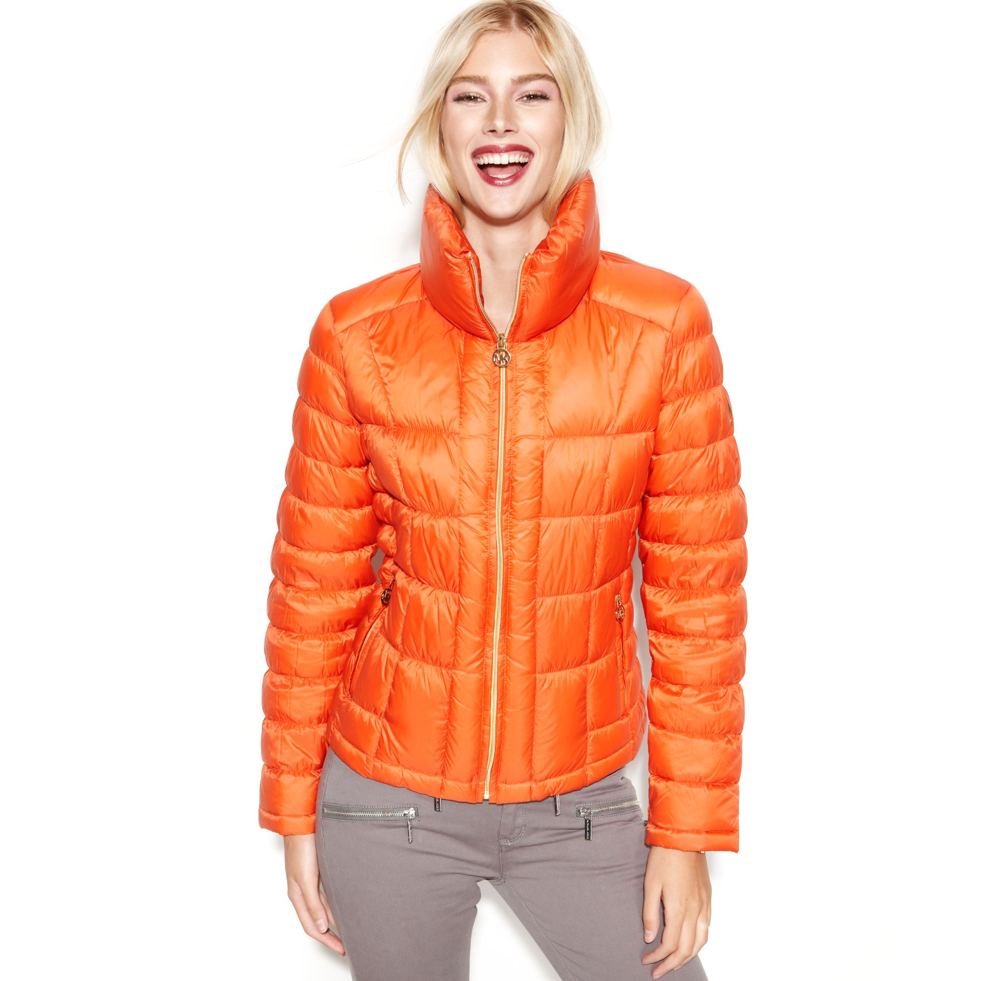 Michael Kors Quilted Packable Down Puffer In Orange Lyst