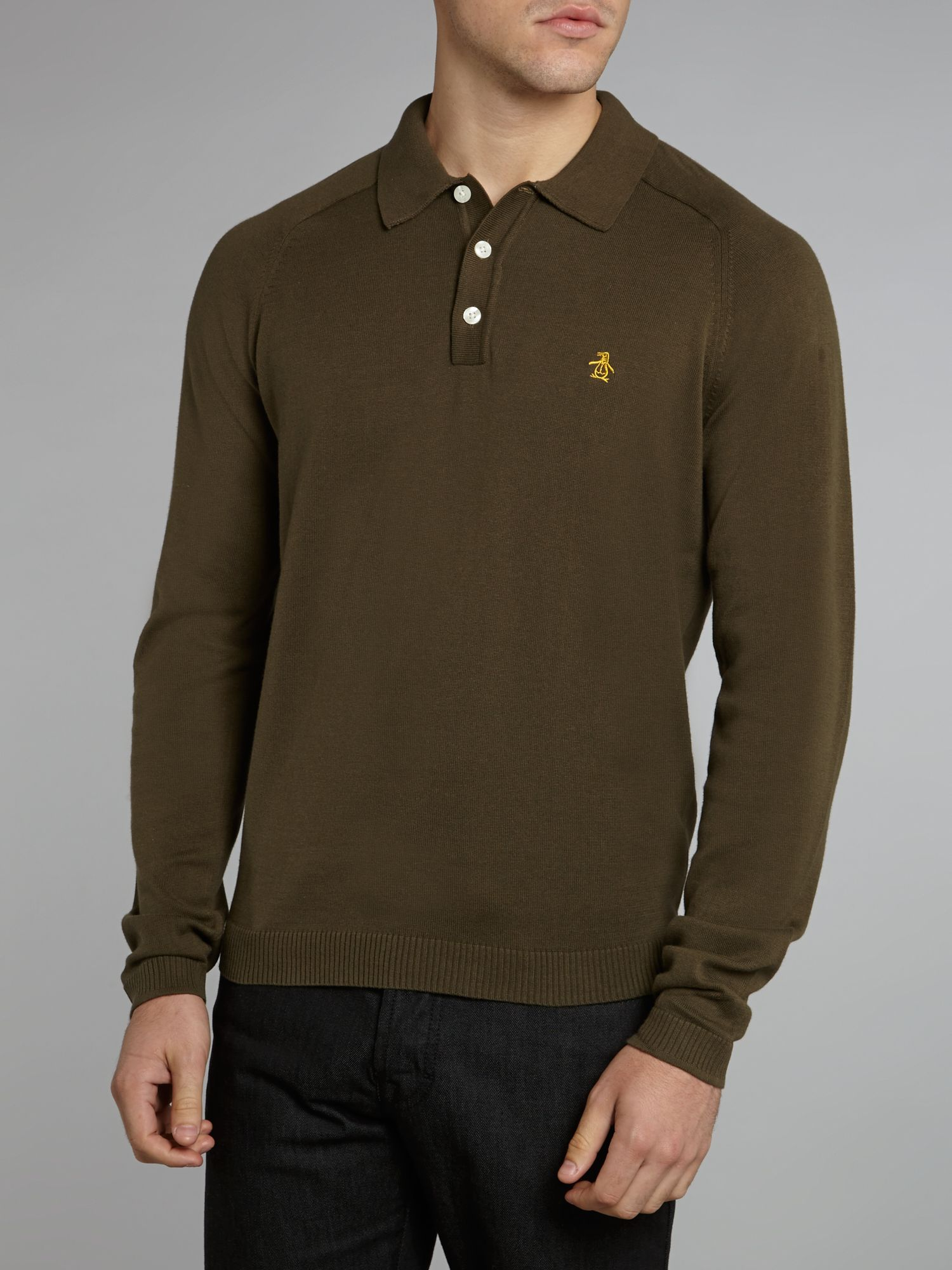 Original Penguin Cotton Long Sleeve Sweater Polo in Olive (Green) for Men