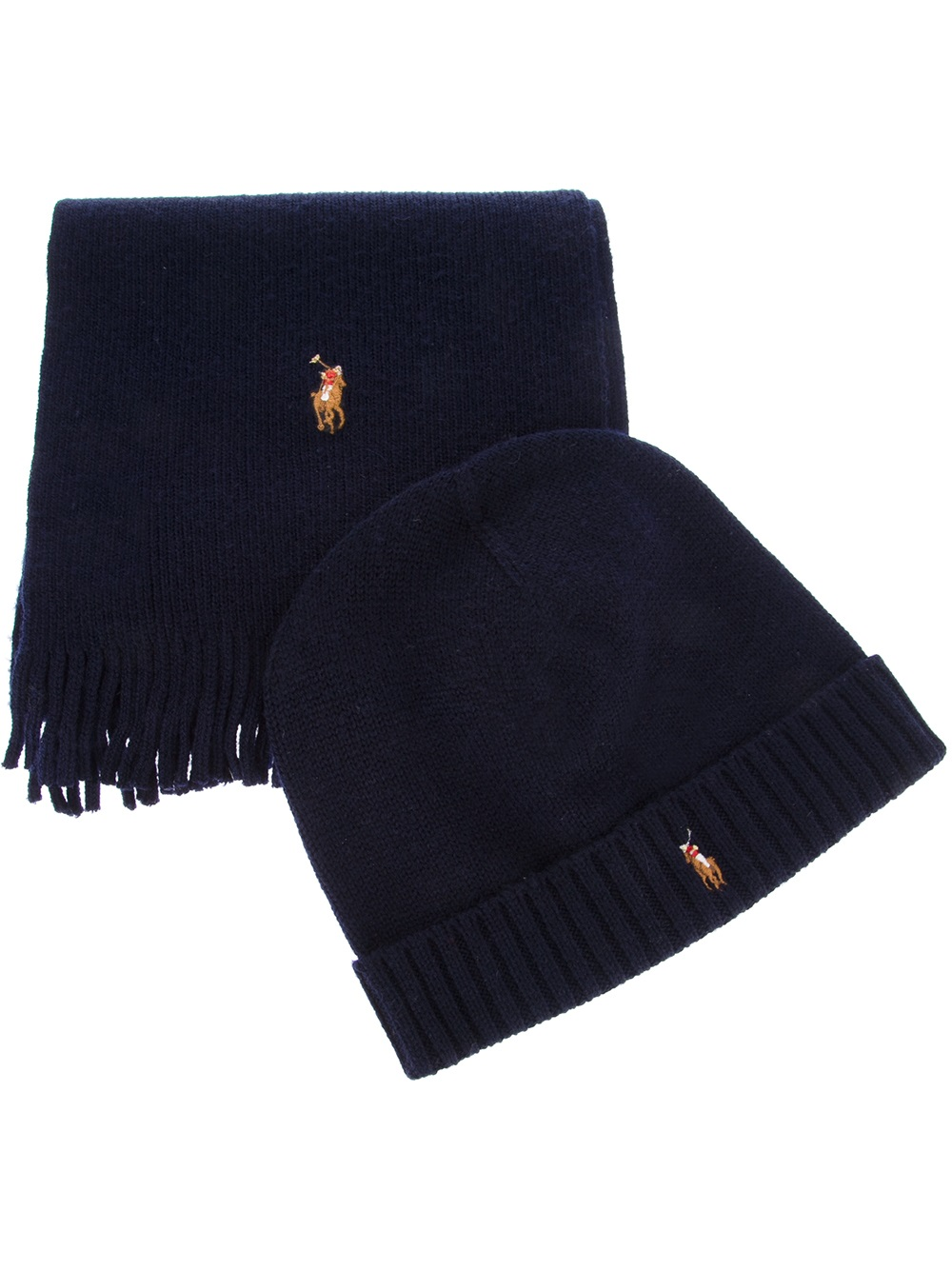 fbcb29f69 ... clearance polo ralph lauren ribbed scarf and hat set in blue for men  lyst 35261 0e61b
