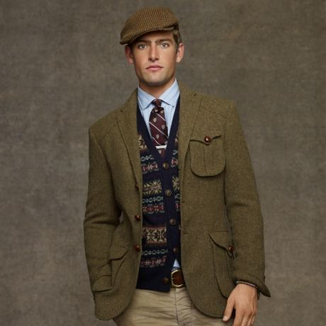 Polo Ralph Lauren Messenger Tweed Sport Coat In Green For