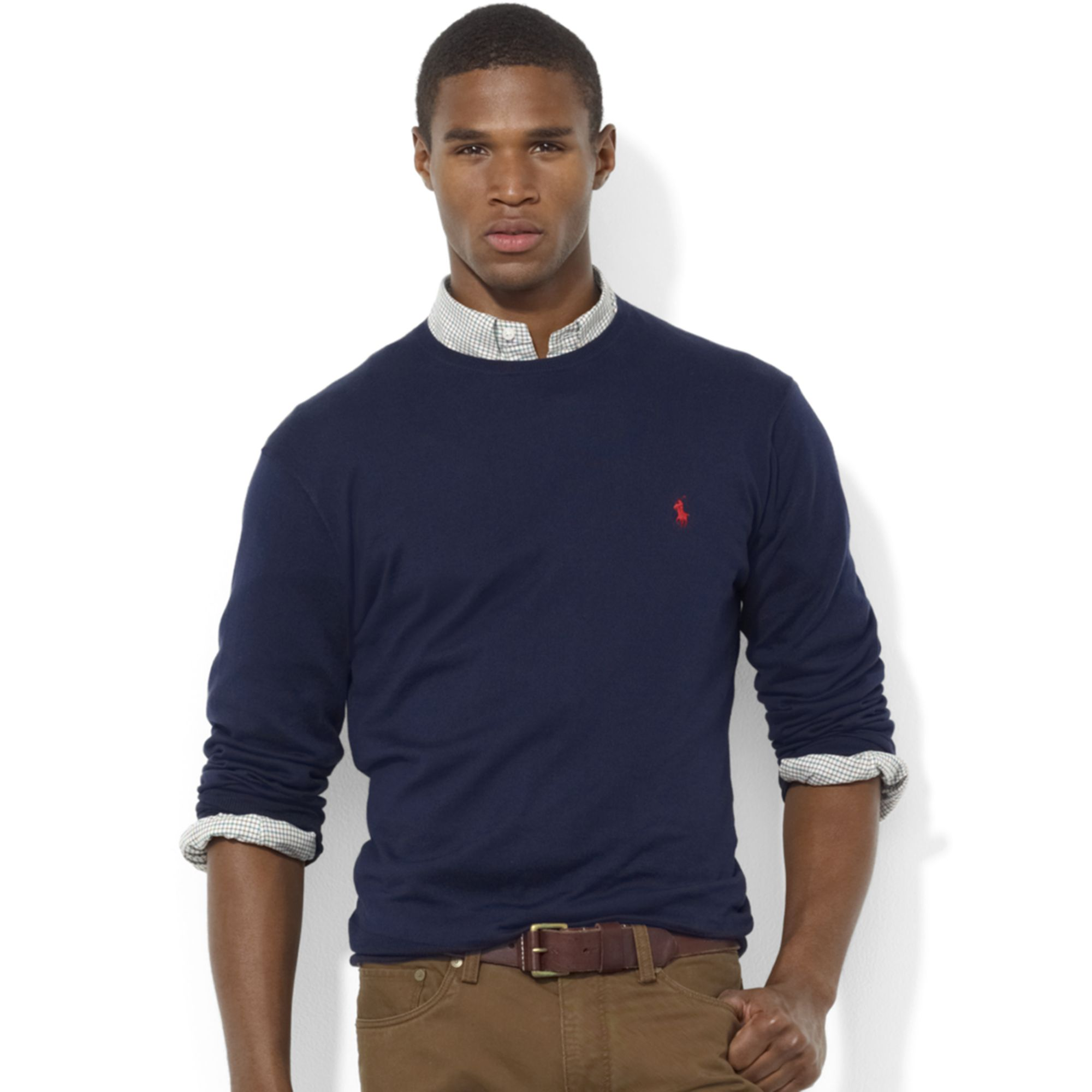 Ralph lauren Crew Neck Pima Cotton Sweater in Blue for Men | Lyst