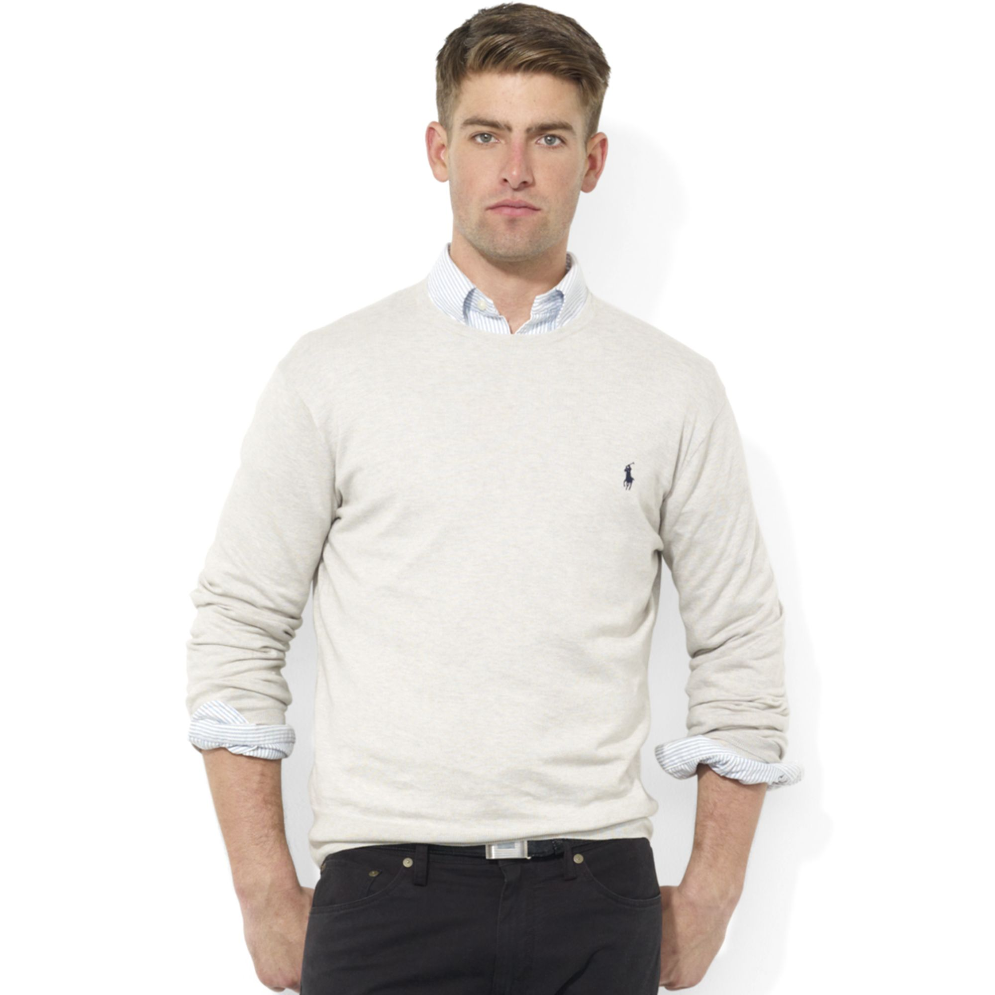 Ralph lauren Crew Neck Pima Cotton Sweater in Gray for Men | Lyst