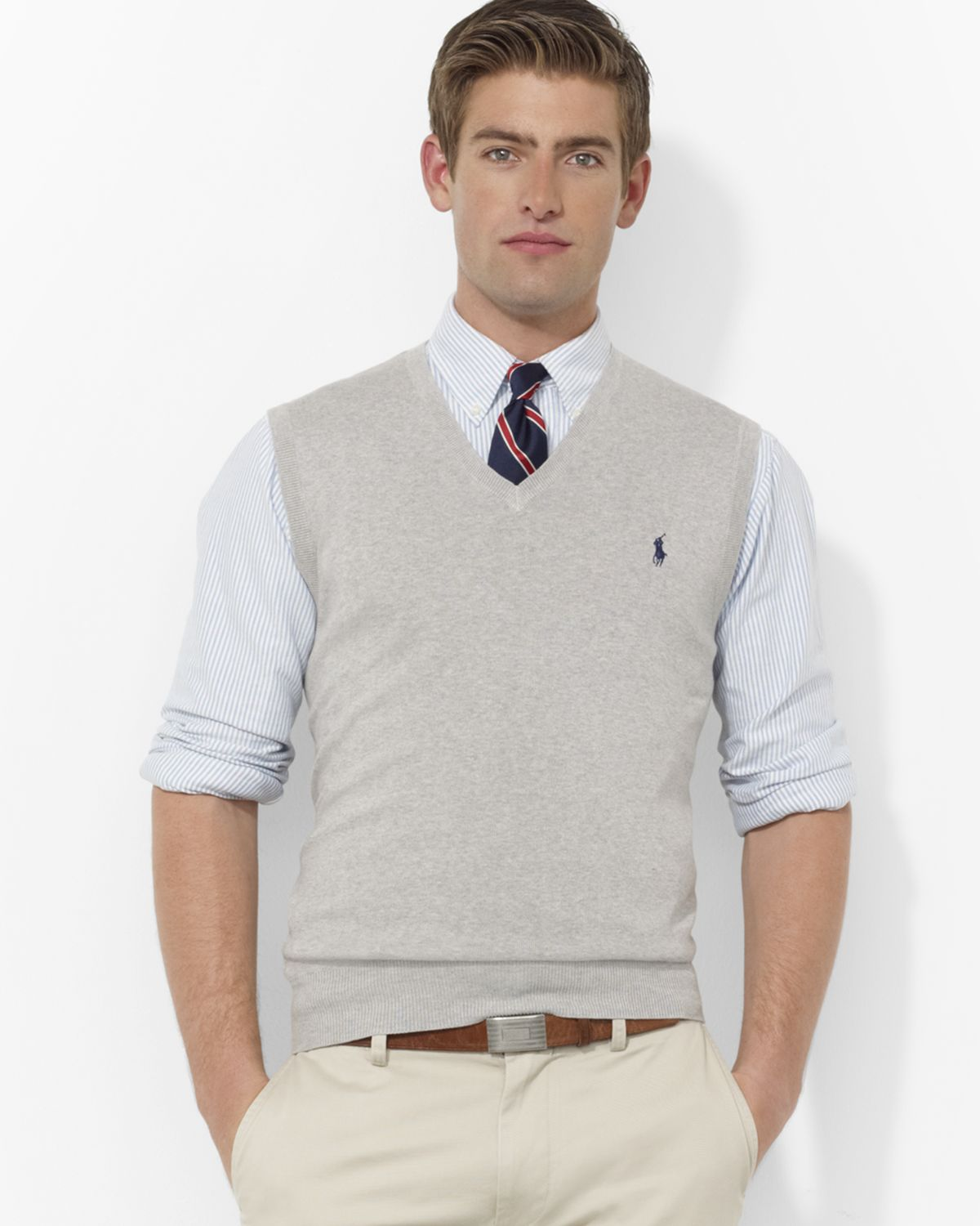 Lyst Pink Pony Polo Pima Cotton Sweater Vest In Gray For Men