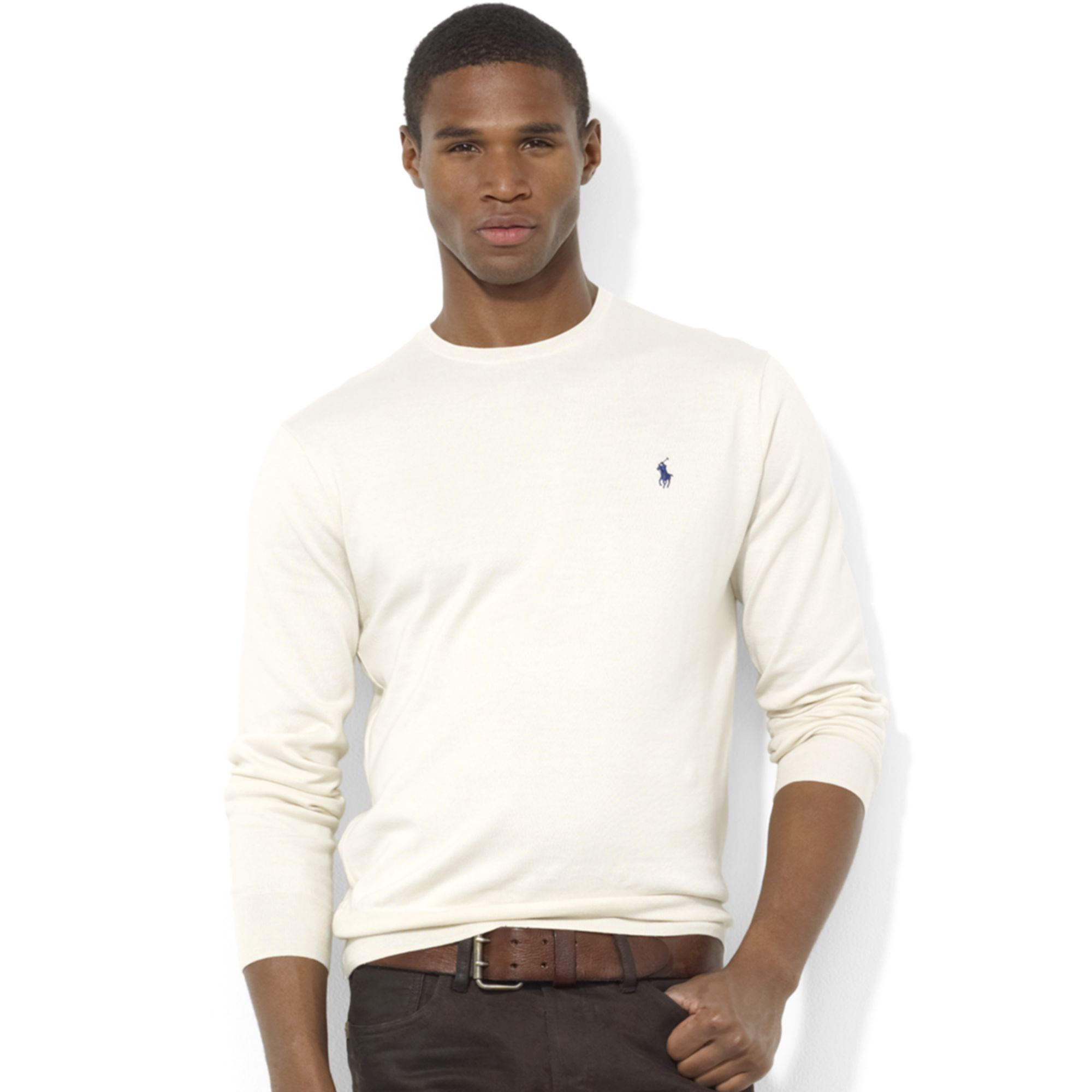 Ralph lauren Crew Neck Pima Cotton Sweater in Natural for Men | Lyst