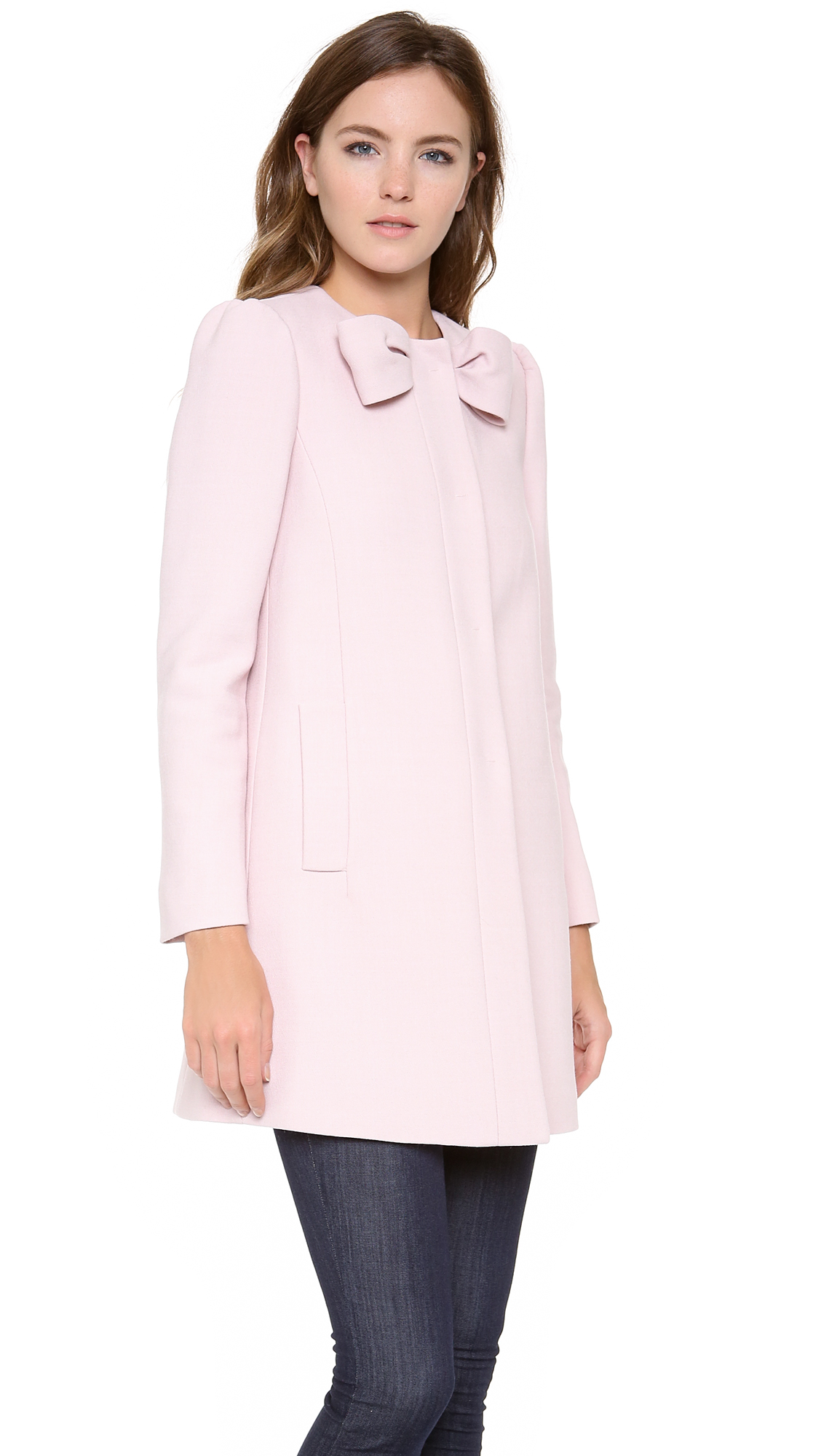 Red Valentino Spring 2016: Red Valentino Bow Neck Coat In Pink