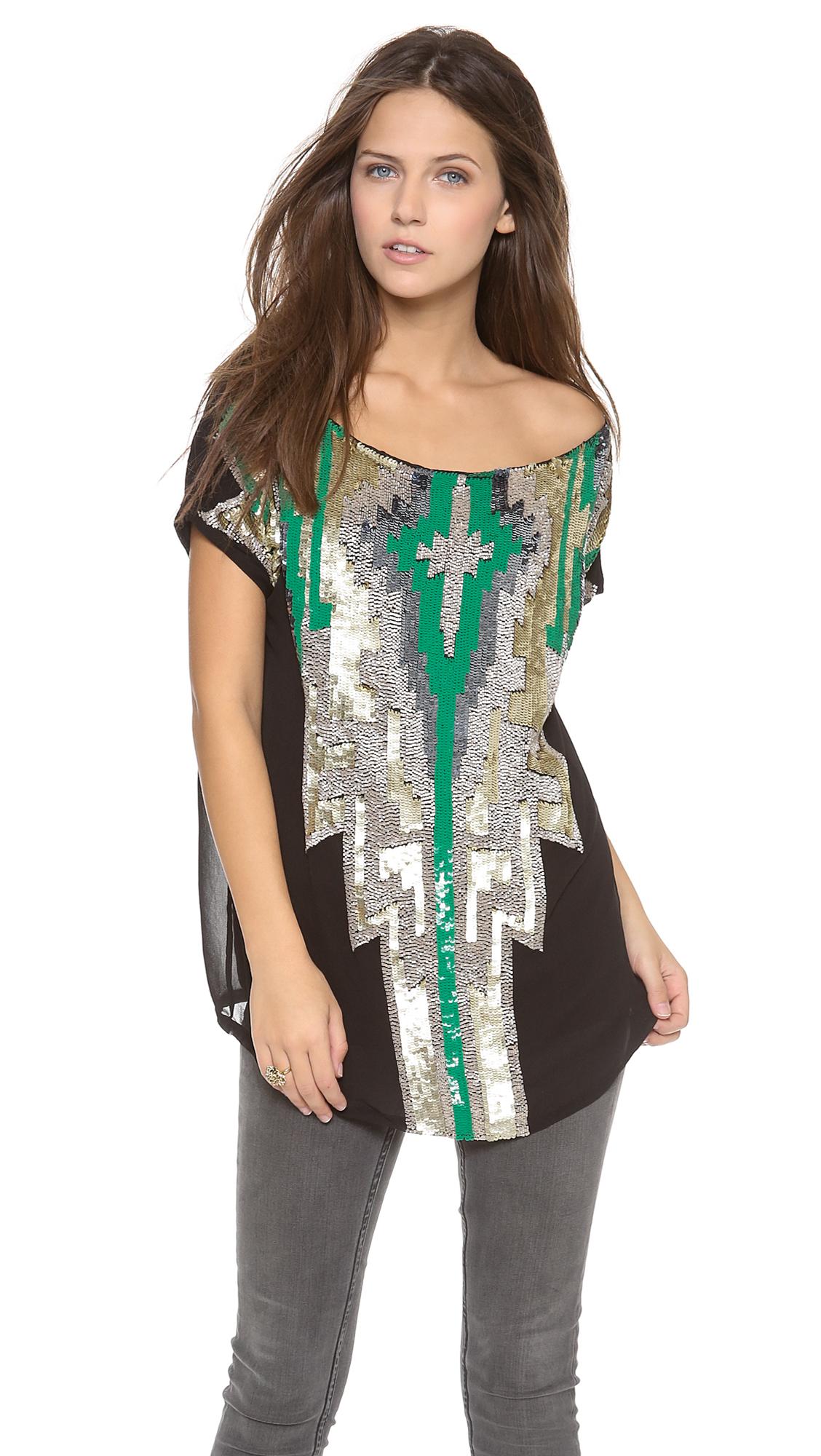 T-Bags Aztec Sequin Top In Green