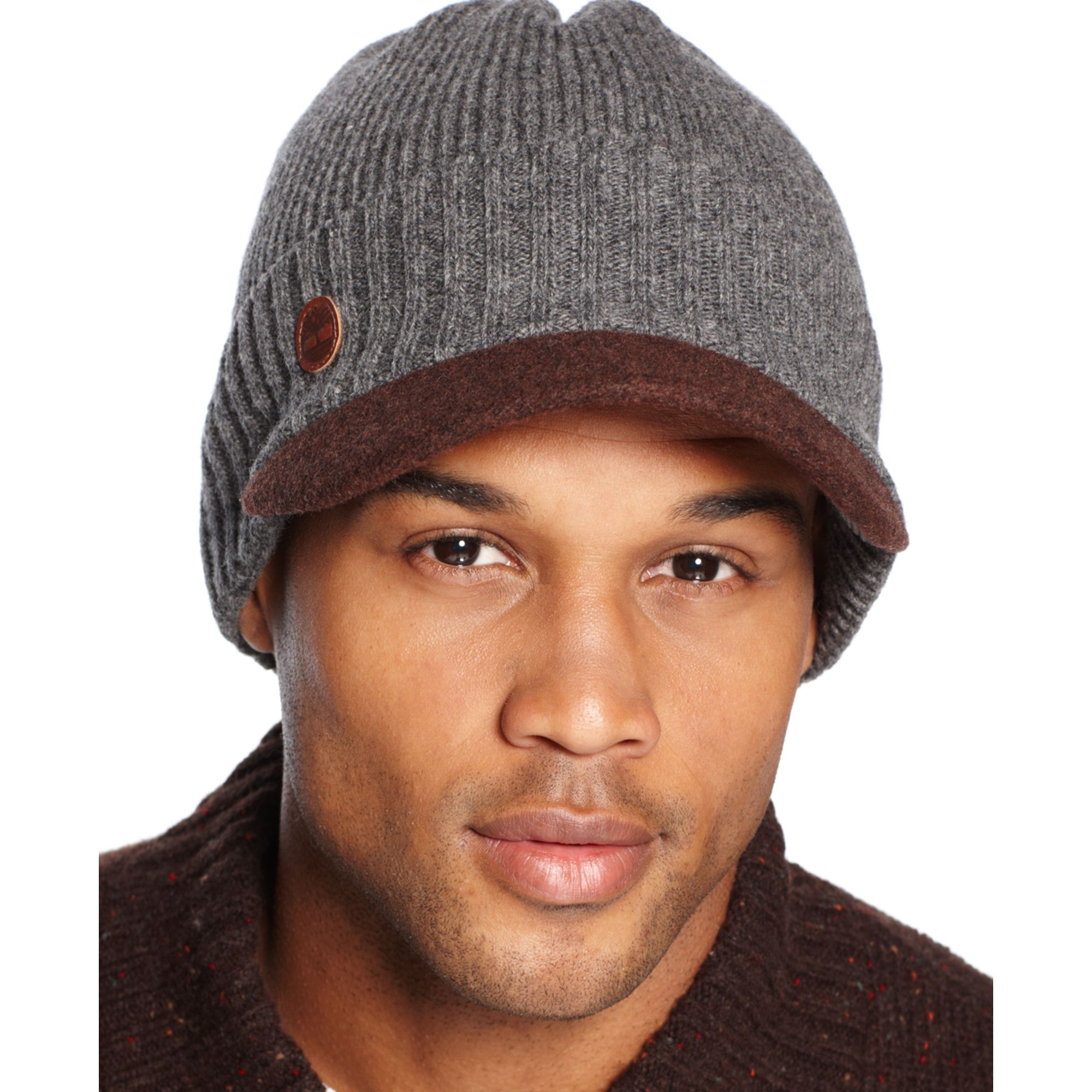 Lyst - Timberland Wool Visor Beanie in Gray for Men edc74b58fd5