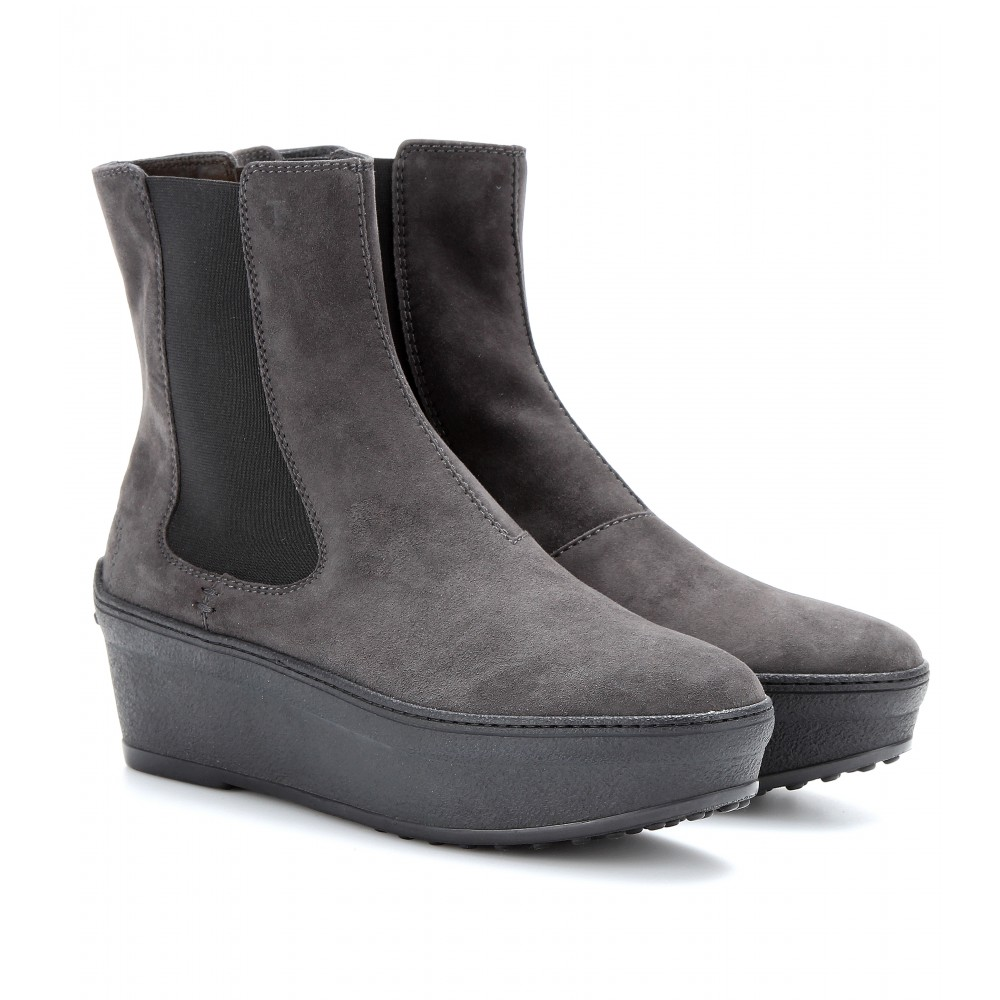 tod 39 s suede platform chelsea boots in gray lyst. Black Bedroom Furniture Sets. Home Design Ideas