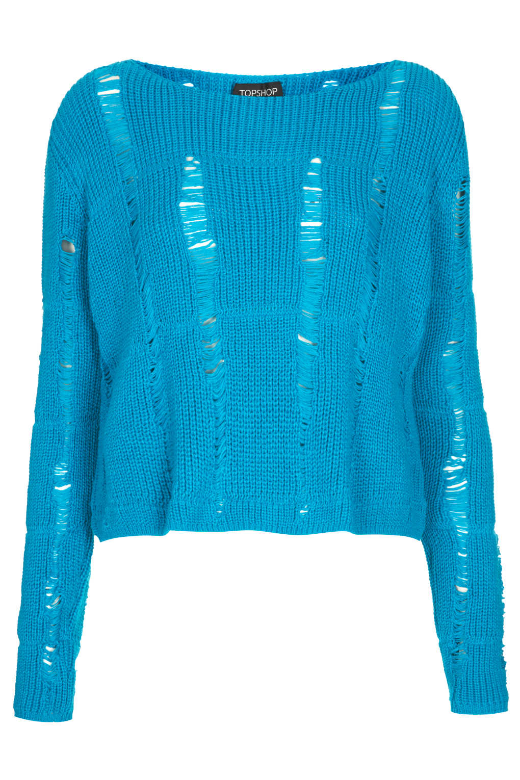Topshop Knitted Ladder Stitch Jumper In Blue Lyst