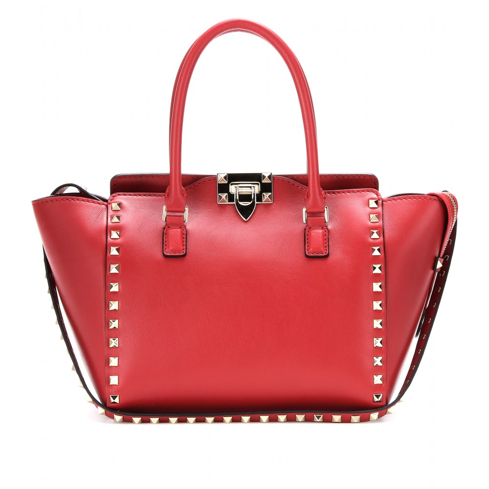 valentino rockstud leather trapeze bag in red lyst. Black Bedroom Furniture Sets. Home Design Ideas