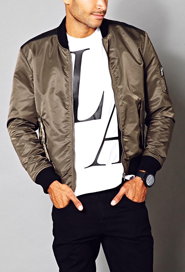 Forever 21 Fresh Bomber Jacket in Natural for Men | Lyst