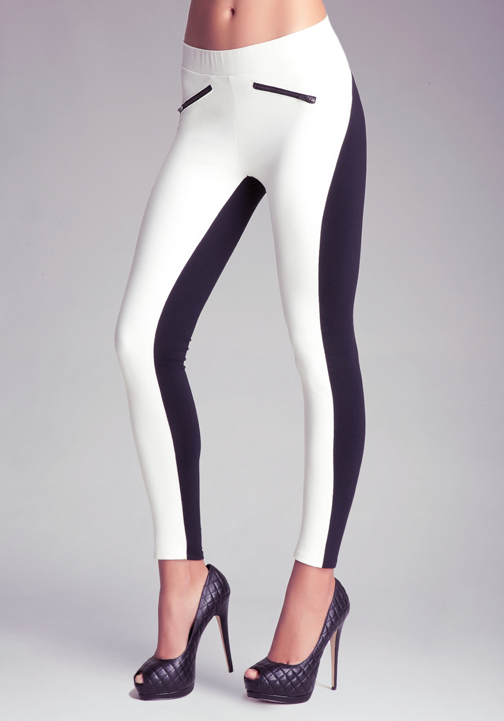 Bebe Crackle Suede Front Leggings In White Lyst