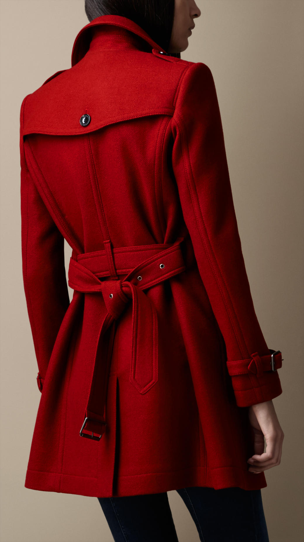 Lyst Burberry Midlength Wool Blend Trench Coat In Red