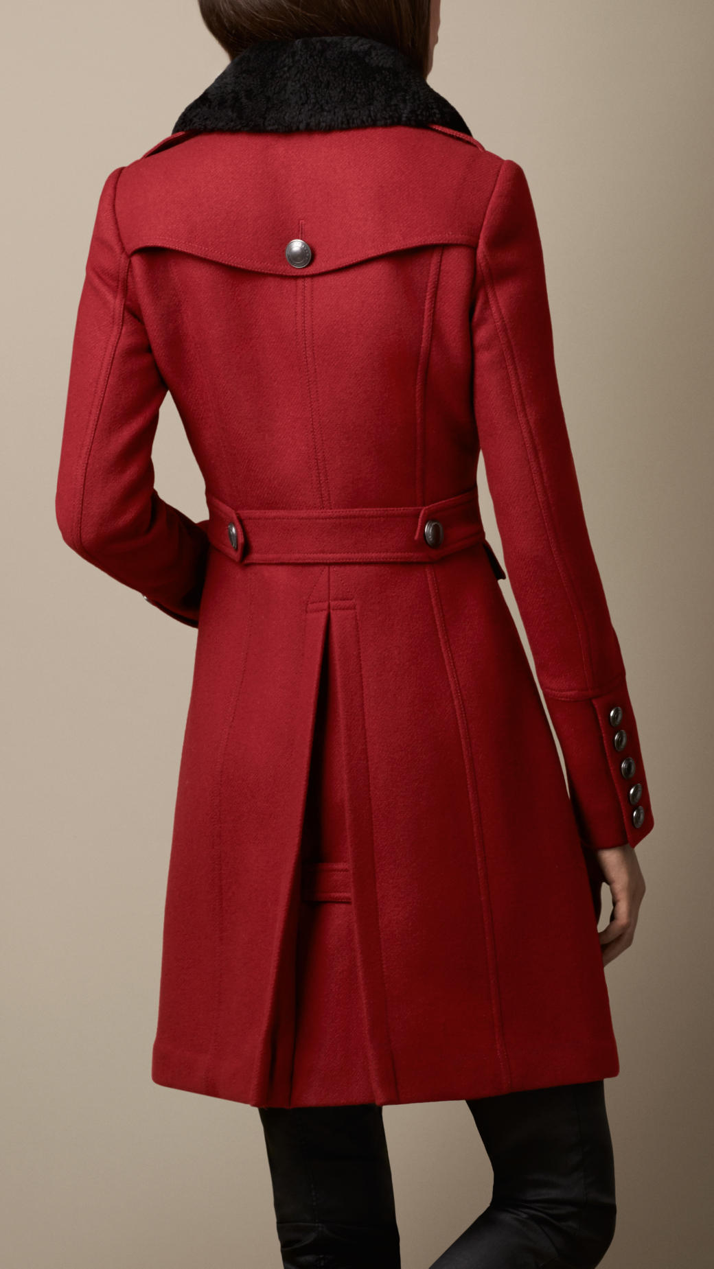 Burberry Shearling Collar Military Coat in Red | Lyst